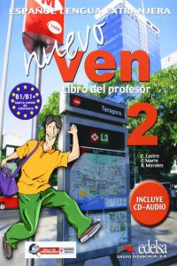 Снимка на учебника Nuevo Ven 2, по който се обучава в нашите курсове и уроци по испански език в езикова академия ИнтелектИ Велико Търново.