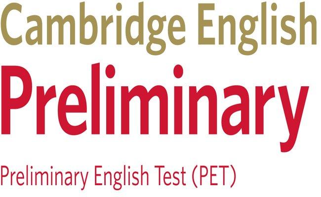 Емблема на сертификата Cambridge English: Preliminary (PET), който присъства в нашата сертификатна подоговка.