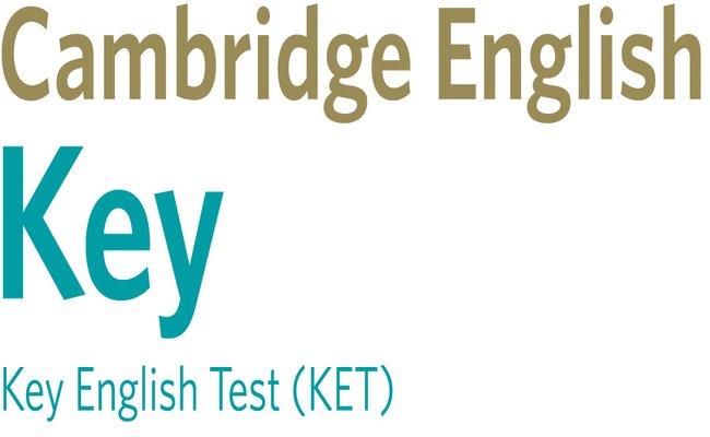 Емблемата на сертификата Cambridge English: Key (KET), който присъства в нашата сертификатна подготовка.